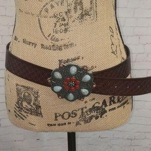 EXPRESS Leather Belt Jeweled Buckle